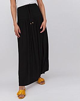 Crinkle Deep Shirred Band Maxi Skirt