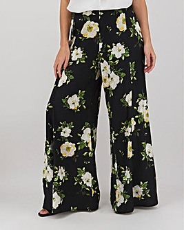 Floral Print Front Split Wide Leg Trousers Regular