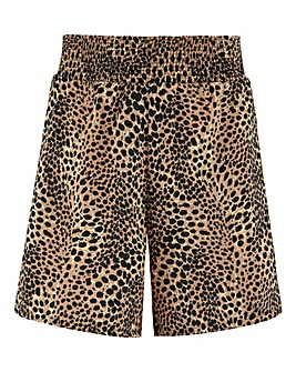 Leopard Print Shirred Waist Shorts