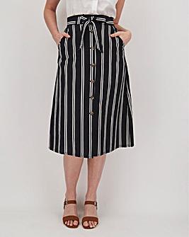 Stripe Linen Rich Button Through Midi Skirt
