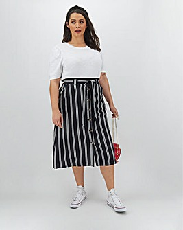 Stripe Linen Rich Midi Skirt