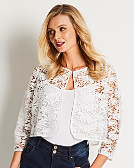 Ivory Cropped Lace Shrug