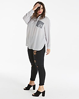 Grey Oversized Shirt With Sequin Pocket