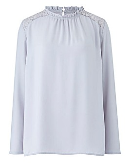 Pale Grey Frill Neck Lace Yoke Blouse