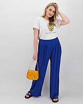 Crinkle Yoke Detail Wide Leg Trousers