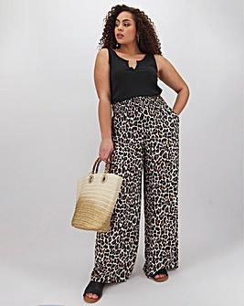 Animal Print Crinkle Wide Trousers