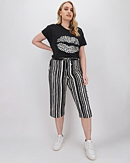 Petite Stripe Linen Mix Crop Trousers