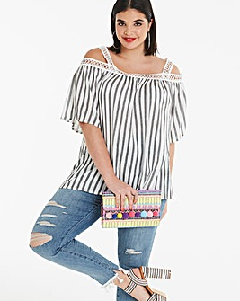 Black Stripe Crochet Trim Cold Shoulder
