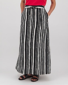 Stripe Easy Care Linen Mix Maxi Skirt