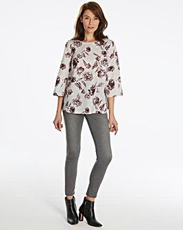 Light Grey Floral Blouse With V Back