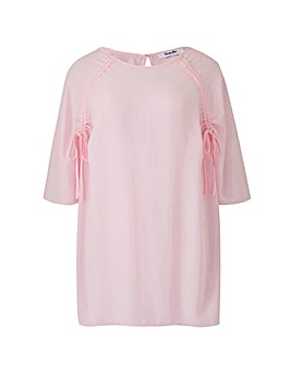 Pink Ruched Raglan Sleeve Top