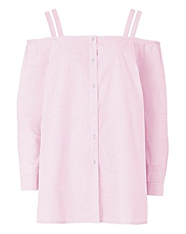 Ballet Pink Button Through Bardot Shirt