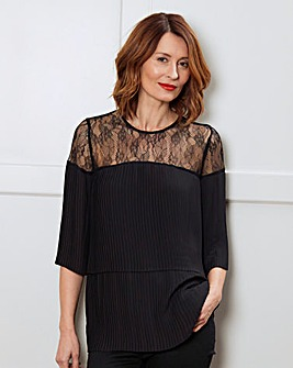 Black Lace Double Layer Pleated Top