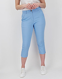 Stone Cotton Rich Stretch Crop Chino Trousers