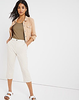 Stone Stretch Crop Chino Trousers