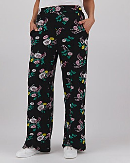 Floral Print Jersey Wide Leg Trousers