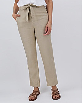 Linen Rich Tie Waist Tapered Trousers