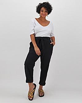 Linen Rich Tie Waist Tapered Leg Trousers Regular