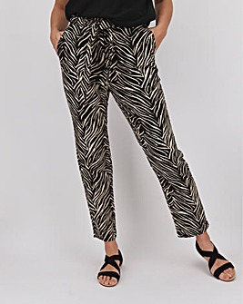 Zebra Print Tapered Linen Rich Trousers