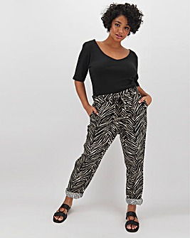 Zebra Print Tapered Linen Rich Tie Waist Trousers Regular