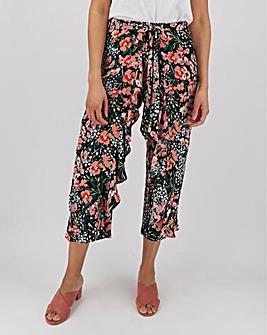 Floral Print Crinkle Wrap Crop Trousers