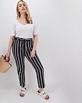 Stripe Linen Rich Tapered Trousers