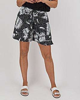 Palm Print Crinkle Wrap Shorts