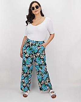 Floral Print Crepe Wide Trousers Regular