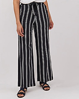 Stripe Linen Rich Wide Leg Trousers