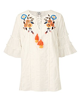 Ivory Broderie Top With Embroidery