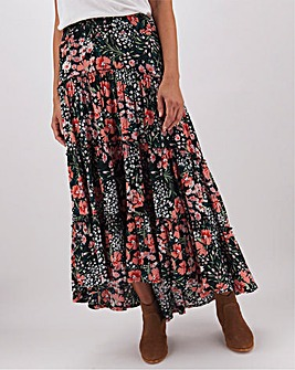 Floral Crinkle High Low Hem Maxi Skirt