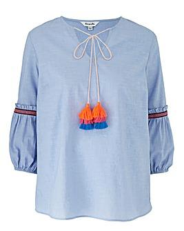 Blue Tassel Trim Fluted Sleeve Blouse