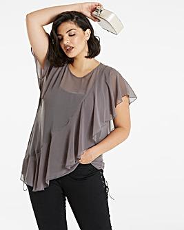Grey Short Sleeve Ruffle Front Blouse