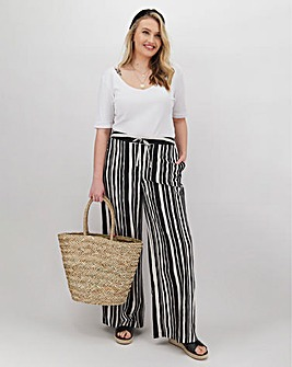 Stripe Linen Mix Wide Trousers Regular