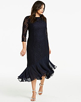 Joanna Hope Frill Midi Lace Dress