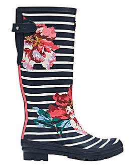 Joules Navy Floral Stripe Wellies Standard D Fit