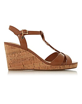 Dune Koala Strap Cork Wedge Heels E Fit