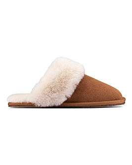 Clarks Warm Lux Suede Slippers D Fit