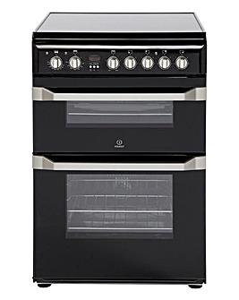Indesit 60cm Ceramic Double Oven - Black