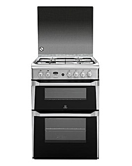 Indesit ID60G2X Gas Double 60cm Cooker Stainless