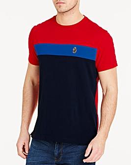 Luke Sport Navy Mix Mitchell Colour Block T-Shirt Regular