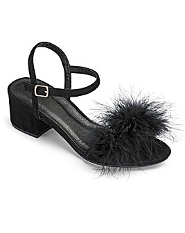 Truffle Fluffy Block Heel E Fit