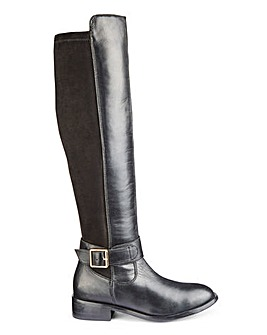 Chloe Leather Knee High Buckle Boot Extra Wide EEE Fit Curvy Calf