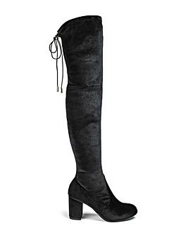 Glamorous Velvet Over The Knee Boot Standard Fit