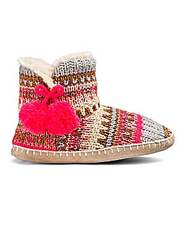 Multi Knit Boot Slipper Wide Fit