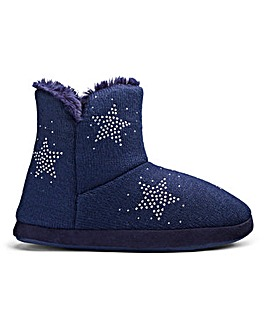 Star Knitted Boot Slipper Wide Fit
