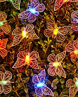 Set of 80 Multicolour Butterfly Solar String Lights