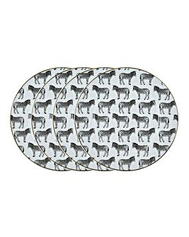 Set of 4 Zebra Side Plates