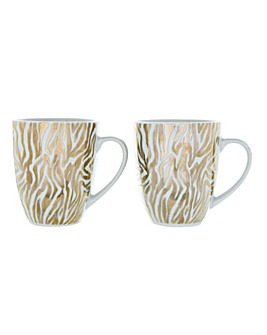 Set of 2 Gold Zebra Print Mugs