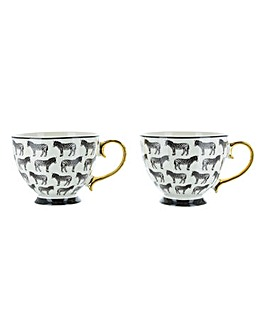 Set of 2 Zebra Footed Mugs